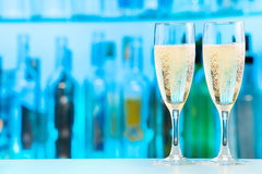 Champagne in two glasses with bubbles fresh Stock Photography