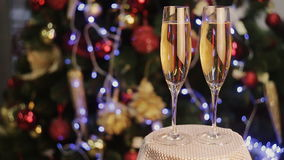 Champagne in two glasses  the christmas background stock footage