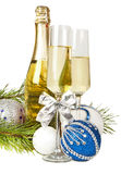 Champagne with two glasses and new year composition 2017 Royalty Free Stock Image