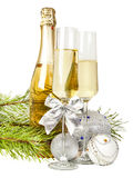 Champagne with two glasses and new year composition 2017 Stock Photo