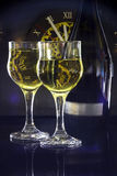 Champagne for two. Image of two glasses and one bottle Champagne on a black background Stock Photography