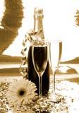 Champagne und Blume Lizenzfreies Stockbild