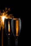Champagne und Feuerwerke Stockbild