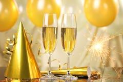 Champagne und Feuerwerke Stockfotografie