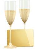 Champagne und Geschenkmarke Stockfoto