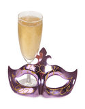 Champagne und Maske Stockbilder