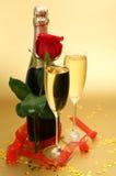 Champagne und stieg Stockfoto