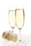 Champagne-und Weihnachtsspielwaren Lizenzfreie Stockfotos