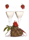 Champagne for valentines day Royalty Free Stock Images