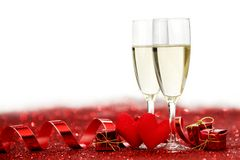Champagne and valentines day decoration Royalty Free Stock Photos