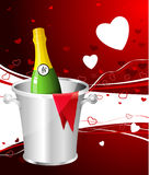 Champagne-Valentinstagauslegunghintergrund Stockbild
