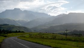 Champagne Valley near Winterton, forming part of the central Drakensberg mountain range, Kwazulu Natal, South Africa. stock image