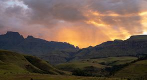 Champagne Valley near Winterton at sunrise, forming part of the central Drakensberg mountain range, Kwazulu Natal, South Africa. royalty free stock image