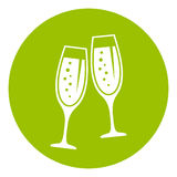 Champagne vector icon. Champagne glasses icon vector illustration Royalty Free Stock Photo