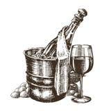 Champagne-Vektorlogo-Designschablone alkoholiker stock abbildung