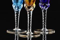 Champagne/vetri di vino/scanalature Fotografie Stock