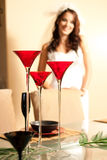 Champagne wedding. This bride is intentionally out of focus in this celebratory image Royalty Free Stock Image