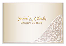 Champagne wedding announcement with silver floral Stock Photo