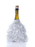 Champagne wedding bottles in suit festive decoration Stock Images