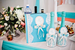 Champagne wedding clothing in turquoise and white with bow Royalty Free Stock Photography