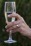 Champagne and wedding ring Royalty Free Stock Photography