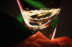 Champagne with wedding rings close up Royalty Free Stock Images