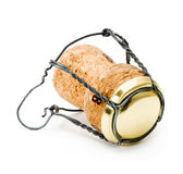 Champagne wine cork. Isolated on white stock images