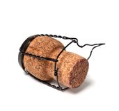 Champagne wine cork on white background Royalty Free Stock Images