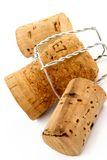 Champagne and wine corks. On a white background royalty free stock images