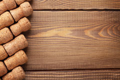 Champagne wine corks over wooden table Royalty Free Stock Photo