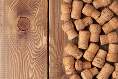Champagne wine corks over wooden table Stock Photo