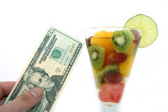 Champagne wine and fruit salad coctail in a glass Stock Photos