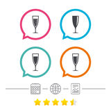 Champagne wine glasses signs. Alcohol drink. Stock Photo