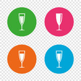 Champagne wine glasses signs. Alcohol drink. Royalty Free Stock Photos