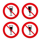 Champagne wine glasses signs. Alcohol drink Stock Photography