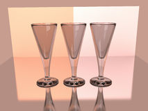 Champagne wine goblets 3D render Royalty Free Stock Photos