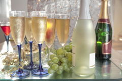 Champagne,wine and grapes. Stock Images