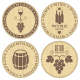 Champagne. Wine. Wood labels on white background Stock Photo