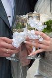 champagnebröllop Royaltyfri Foto