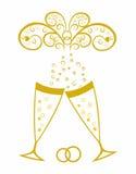 Champagneexponeringsglas. Guldbröllopberöm Fotografering för Bildbyråer