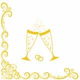 Champagneexponeringsglas. Guldbröllopberöm Royaltyfri Fotografi