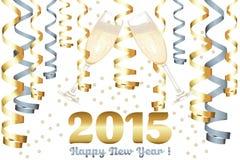 Champagneexponeringsglas i nytt år Arkivfoto