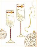Champagneexponeringsglas som dekoreras för det nya året Arkivfoto