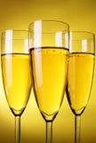 champagneexponeringsglas tre Arkivfoton