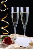 champagneexponeringsglas två Royaltyfri Fotografi