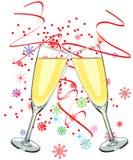 champagneexponeringsglas två Royaltyfria Foton