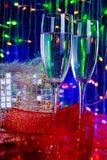 champagneexponeringsglas två arkivbild
