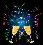 Champagneexponeringsglasberöm royaltyfri illustrationer