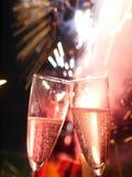 Champagneexponeringsglasfyrverkeri Royaltyfri Bild