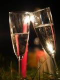 Champagneexponeringsglasfyrverkeri Royaltyfria Bilder